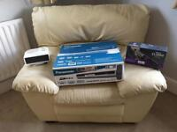 Leather chair, heater, DVD recorder, nicky clarke brush