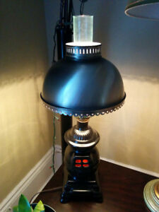 Pot Belly Stove with Metal shade and Hurricane Lamp