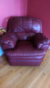 Red  Leather Recliner couches