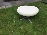 Cream cord swivel footstool