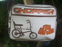 Vintage Style Retro Raleigh Chopper Cycle Shoulder Bag. Nottingham Badge & Tag.