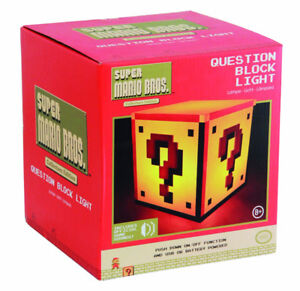Nintendo Super Mario Question Block Night Light Bedside Lamp