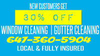 30% OFF WINDOW/GUTTER CLEANING - LOCAL | INSURED | EXPERIENCED