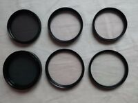 6 assorted photographic filters and thread converter