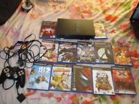 BLACK PS2 CONSOLE SCPH-30003 BUNDLE 12 GAMES,CONTROLLER