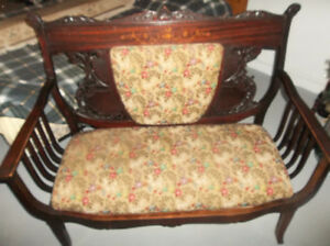 Antique wooden loveseat for sale