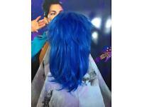 Dark blue anime style wig