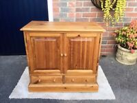 Pine cabinet with media rack inside