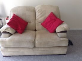 Beige 2 seater settee and armchair. Will need a clean but all covers are removable.
