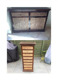 Wooden cabinet storage unit and matching 8 drawer chest