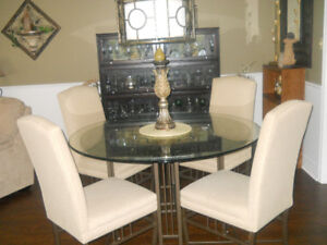 Round Dining Table and 4 Chairs w Custom Top under Glass