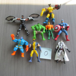 MARVEL X-MEN SPIDERMAN IRON MAN CAPITAINE AMERICA FIGURINES LOT.