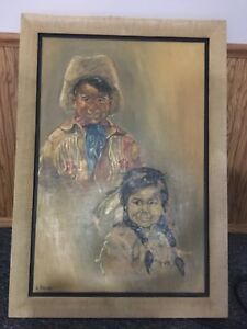 Navajo children oil painting