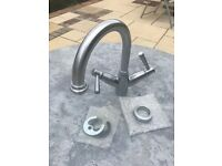 Monobloc Basin Mixer Tap - Brushed Metal Finish
