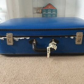 Blue Vintage Upcycled Suitcase.