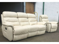 Reids 3+1 cream leather recliners sofas DELIVERY AVAILABLE