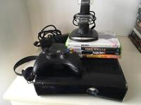 Xbox 360 console, controller plus charger & 4 games & headset