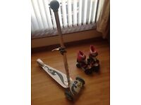 Scooter + Roller boots (size uk 1 - uk 4) outdoor toy bundle ideal for caravan Like new