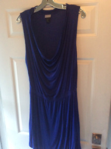 Scoop Neck Royal Blue Dress with Synched Waist-BNWO