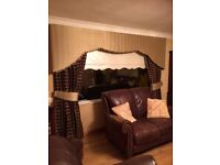 Shaped, padded pelmet with matching lined curtains and tie backs 90 wide x 84inch drop