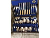 Vintage cutlery set in wooden box for sale