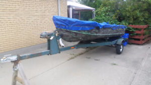 12 ft Camo aluminum boat with trailer and 5 hp