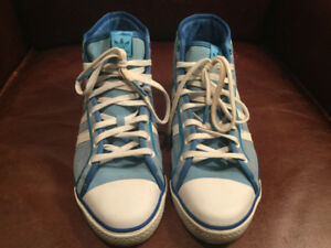 Adidas Sleek Series High Tops Suede Blue and White Sneakers shoe