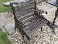 LOVELY OLD GARDEN BENCH OR SEAT ENDS ONLY SLATS NEED REPLACING TO MAKE STABLE CAST IRON PLANT STAND