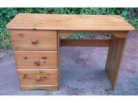 Real pine dressing table, desk, with drawers