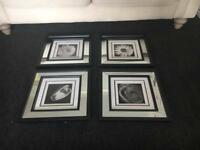 Set of 4 mirrored pictures