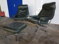 SKOGHAUG INDUSTRI RETRO LOUNGE RECLINING CHAIR SET 2 GREEN LEATHER STRESSLESS CHAIRS & FOOTSTOOL