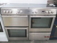*+*+BELLING SILVER 110cm 7 Burners/2 ovens and grill/Gas Range Cooker//VERY CLEAN/FREE LOCAL DELIVER
