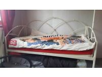 Single White metal day bed with mattress excellent condition
