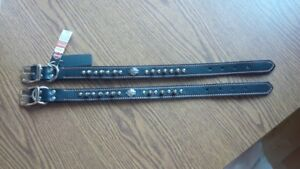 "Two 18"" Harley Davidson spiked dog collars"