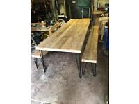 Large dining table and 2 matching benches