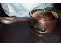 Vintage Bourgeat Heavy French Copper Stainless Steel Lined Saucepan - 16
