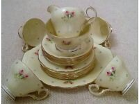 'Queen Anne' Fine Bone China: 20 Piece Tea Set Yellow Small Rose & Blue Bud Design/Collectors/Picnic