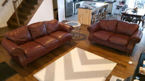 Ensemble de sofa de cuir veritable collection tanguay