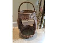 UNUSUAL RARE VINTAGE FRENCH PICNIC BASKET BAGUETTE CARRIER