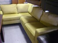 L Shaped Corner Sofa Settee Suite in Mustard Yellow. Great Condition
