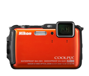 Nikon Coolpix AW120 Waterproof Camera Orange with all packaging