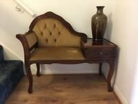 Antique style hallway seating with small drawer