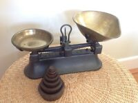 1940's Cast Iron and brass Kitchen Scales