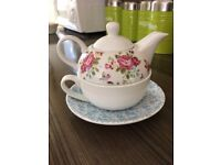 Blue and White 2 in 1 Teapot and Cup with Saucer