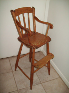 ANTIQUE PINE VERY HIGH CHAIR ALL ORIGINAL PARTS MENNONITE