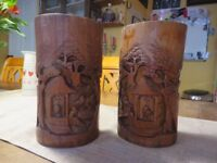 Wooden Carved Oriental Brush Holders