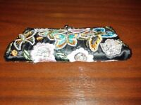Ladies small evening bag, black with sequins and embroidery, butterflies and flowers