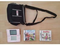 Original Pink Nintendo DS + Travel bag, MySims and Imagine Fashion Designer
