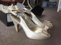 Ivory satin peep toe wedding shoes Next size 7. Worn once with original box