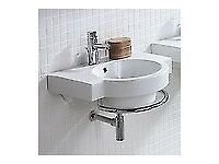 CUBA Wall Hung Bathroom Basin & Towel Rail (RRP £530)